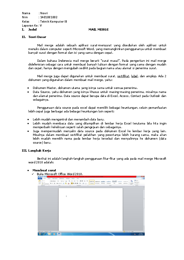 Cara Mailing Excel Ke Word 2010 : mailing, excel, Merge, Novri, PiliAnk, Academia.edu