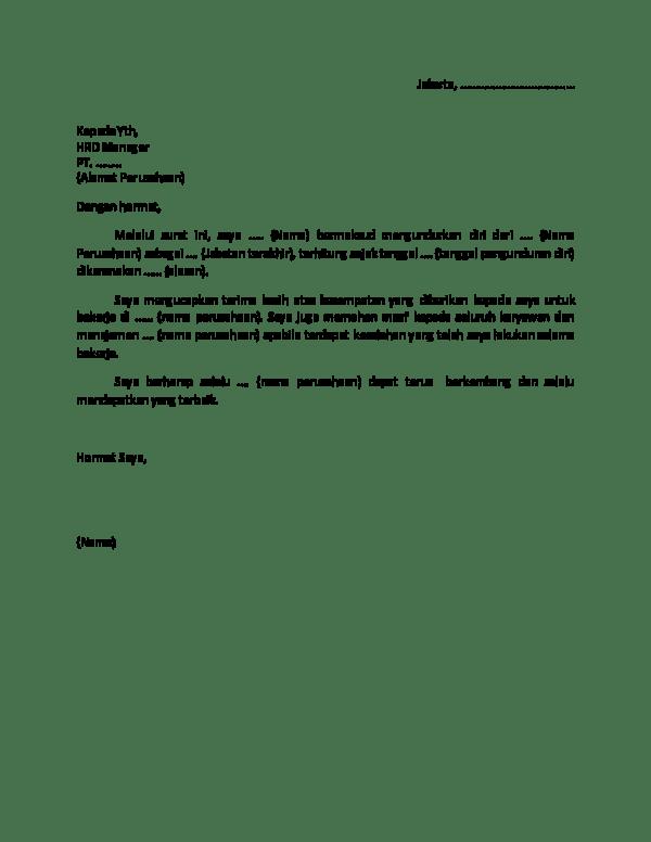Surat Pengunduran Diri Doc : surat, pengunduran, Contoh, Surat, Pengunduran, Yuliani, Academia.edu
