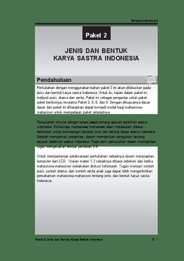 Jenis Karya Sastra : jenis, karya, sastra, Bahasa, Indonesia, Paket, Jenis, Bentuk, Karya, Sastra, Yanti, Academia.edu