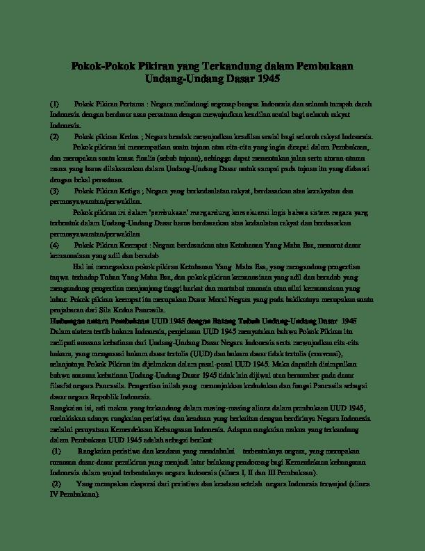 Pokok Pokok Pikiran Yang Terkandung Dalam Pembukaan Uud 1945 : pokok, pikiran, terkandung, dalam, pembukaan, Pokok-Pokok, Pikiran, Terkandung, Dalam, Pembukaan, Undang-Undang, Dasar, Farid, Academia.edu
