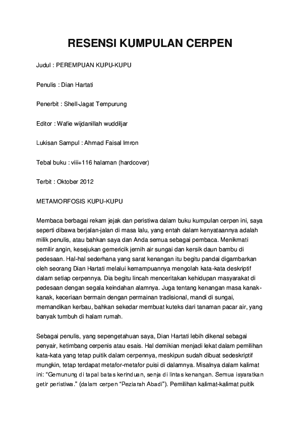 Kalimat Resensi Adalah : kalimat, resensi, adalah, RESENSI, KUMPULAN, CERPEN, Pandensolang, Academia.edu