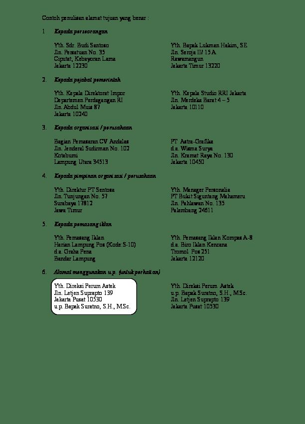 Penulisan Alamat Surat Yang Benar : penulisan, alamat, surat, benar, Contoh, Penulisan, Alamat, Tujuan, Benar, Kepada, Perseorangan, Wahyuni, Academia.edu