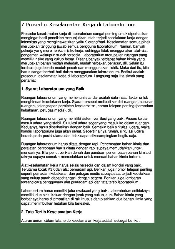 Prosedur Keselamatan Kerja Di Laboratorium : prosedur, keselamatan, kerja, laboratorium, Prosedur, Keselamatan, Kerja, Laboratorium, Akmal, Fuadi, Academia.edu