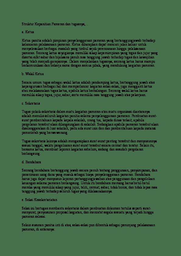 Menata Ruangan Pameran Adalah Tugas Dari Seksi : menata, ruangan, pameran, adalah, tugas, seksi, Struktur, Kepanitian, Pameran, Tugasnya, Muhammad, Randy, Academia.edu