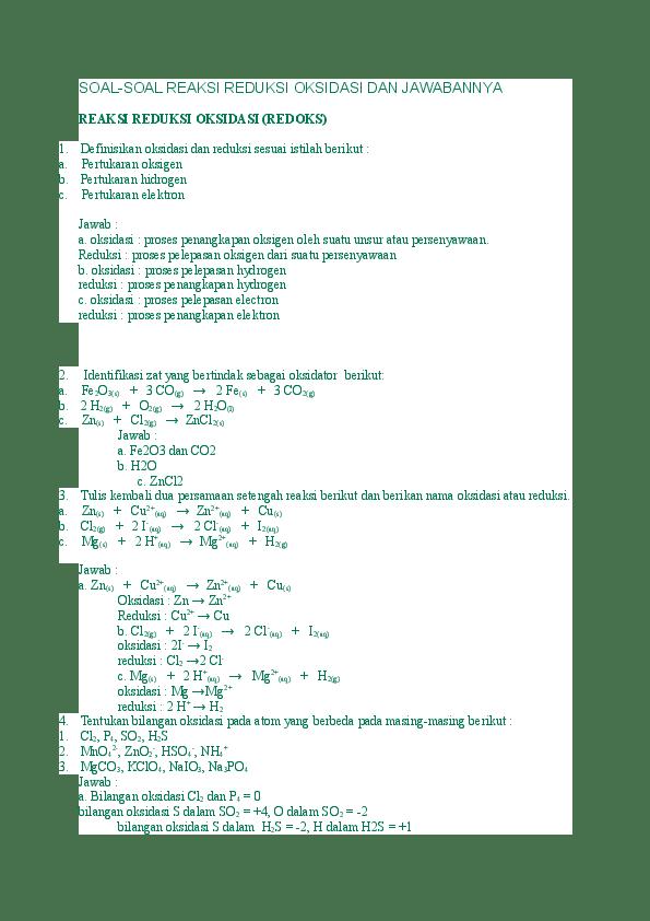 Soal Reaksi Redoks : reaksi, redoks, SOAL-SOAL, REAKSI, REDUKSI, OKSIDASI, JAWABANNYA, Gibran, Abinaya, Academia.edu