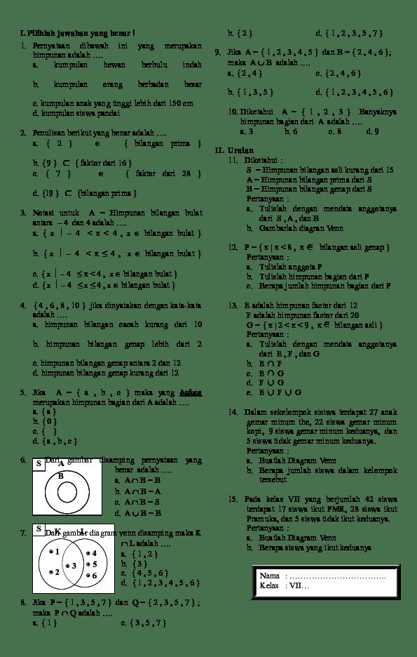 Merupakan himpunan yang terdiri atas bilangan bulat negatif, nol dan positif. Doc Ulangan Himpunan Smp Kelas 7 Winona Anggraeni Academia Edu