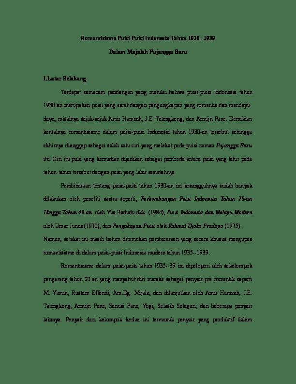 Kumpulan Syair Pujangga Lama : kumpulan, syair, pujangga, Romantisisme, Puisi-Puisi, Indonesia, Tahun, 1935-1939, Dalam, Majalah, Pujangga, Sastri, Sunarti, Academia.edu