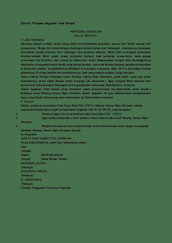 Contoh Proposal Halal Bihalal : contoh, proposal, halal, bihalal, Contoh, Proposal, Kegiatan, Halal, Bihalal, Erwin, Academia.edu