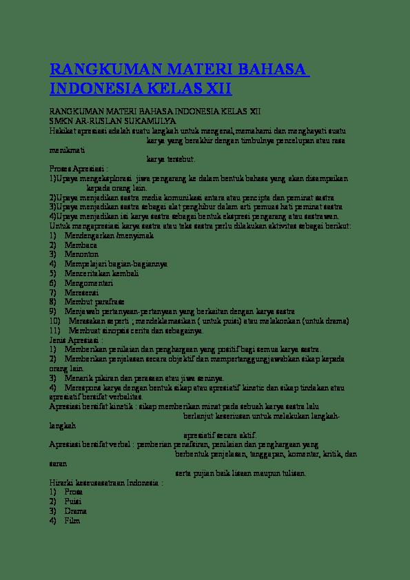 Materi Bahasa Indonesia Kelas 12 Semester 1 : materi, bahasa, indonesia, kelas, semester, RANGKUMAN, MATERI, BAHASA, INDONESIA, KELAS, Carlshon, Chant, Academia.edu