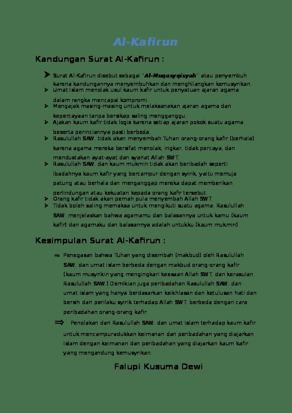 Penjelasan Surat Al Kafirun : penjelasan, surat, kafirun, Al-Kafirun, Kandungan, Surat, Falupi, Kusuma, Academia.edu
