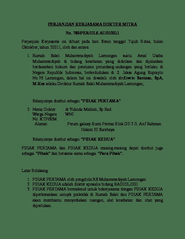 Contoh Surat Perjanjian Kerjasama Kemitraan Usaha : contoh, surat, perjanjian, kerjasama, kemitraan, usaha, Perjanjian, Kemitraan, Dokter, Cute766