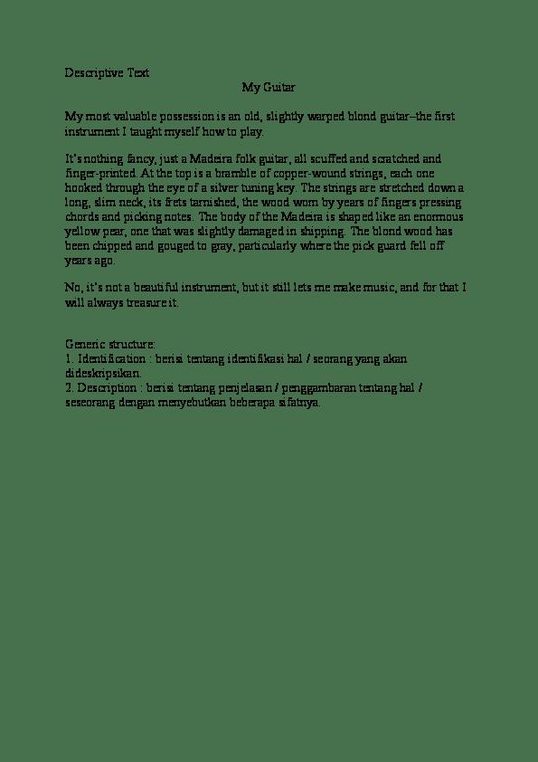 Descriptive Text Tentang Benda : descriptive, tentang, benda, Descriptive, Guitar, Angelina, Ester, Academia.edu