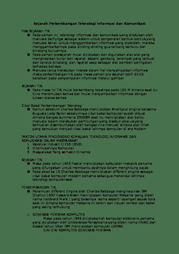 Sejarah Perkembangan Tik : sejarah, perkembangan, Sejarah, Perkembangan, Teknologi, Informasi, Komunikasi, Ramadan, Academia.edu