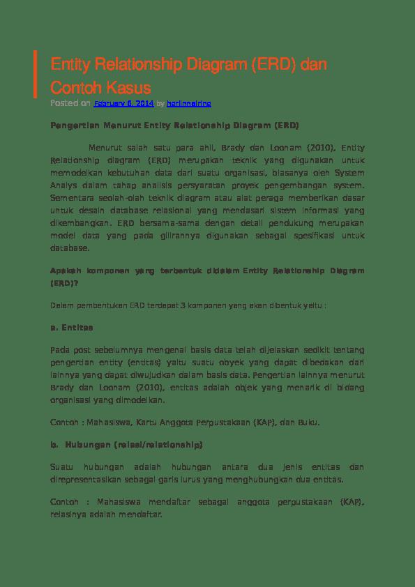 Pengertian Erd Menurut Para Ahli : pengertian, menurut, Entity, Relationship, Diagram, Fairuz, Academia.edu