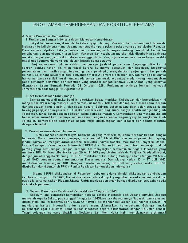 Proklamasi Kemerdekaan Dan Konstitusi Pertama : proklamasi, kemerdekaan, konstitusi, pertama, Proklamasi, Indonesia, Konstitusi, Elisa, Cholis, Academia.edu
