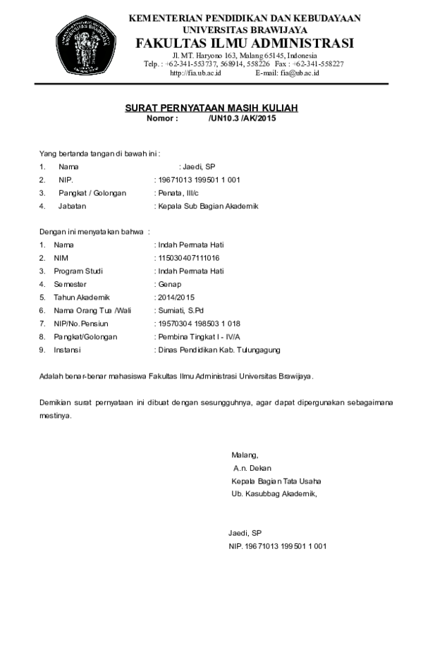 Surat Keterangan Masih Kuliah : surat, keterangan, masih, kuliah, SURAT, PERNYATAAN, MASIH, KULIAH, Indah, Permata, Academia.edu