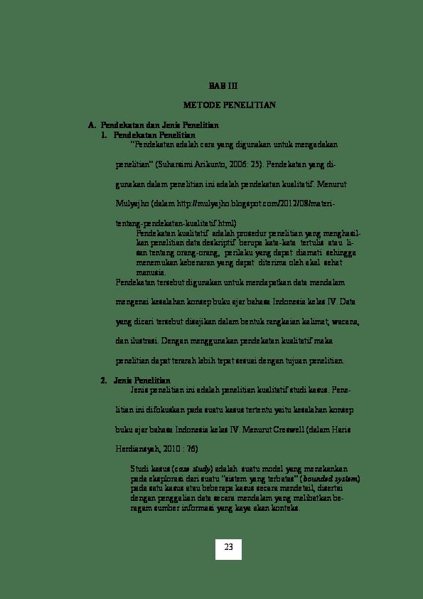 Contoh Skripsi Bab 3 Kualitatif Deskriptif