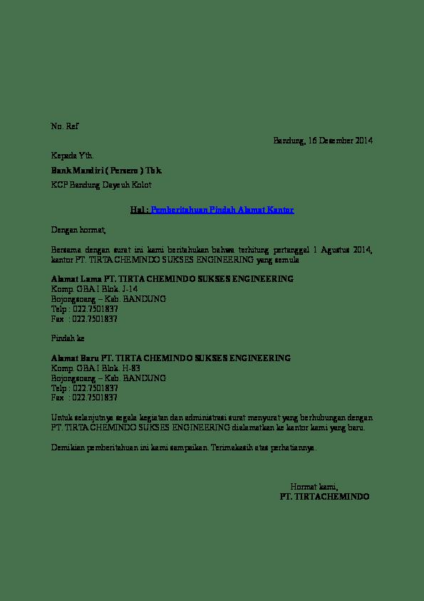 Surat Pernyataan Pindah Alamat : surat, pernyataan, pindah, alamat, Pemberitahuan, Pindah, Alamat, Kantor, Anggraeni, Academia.edu