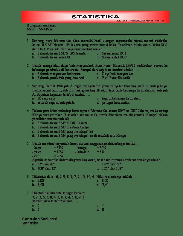 Soal statistika smp kelas 9 plus kunci jawaban lengkap. Doc Kumpulan Soal Soal Materi Statistika Nelma Samsuarini Academia Edu