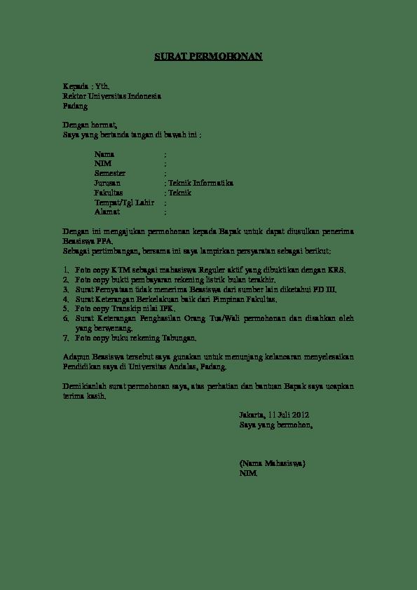 Contoh Surat Pemberitahuan Doc : contoh, surat, pemberitahuan, SURAT, PERMOHONAN, Jembris, Saflesa, Academia.edu