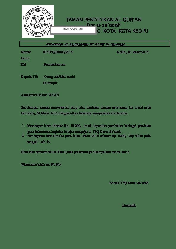 Contoh Surat Pemberitahuan Doc : contoh, surat, pemberitahuan, Surat, Pemberitahuan, Darus, Saadah, Academia.edu