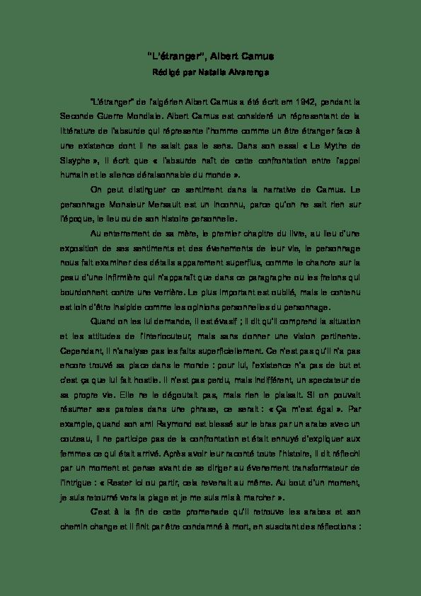L'Etranger d'Albert Camus : le résumé