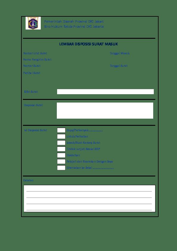 Contoh Lembar Disposisi : contoh, lembar, disposisi, Cetak, Disposisi, Surat, Academia.edu