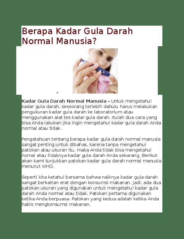 Kadar Gula Darah Normal Menurut Who Pdf : kadar, darah, normal, menurut, Berapa, Kadar, Darah, Normal, Manusia, Prakoso, Academia.edu