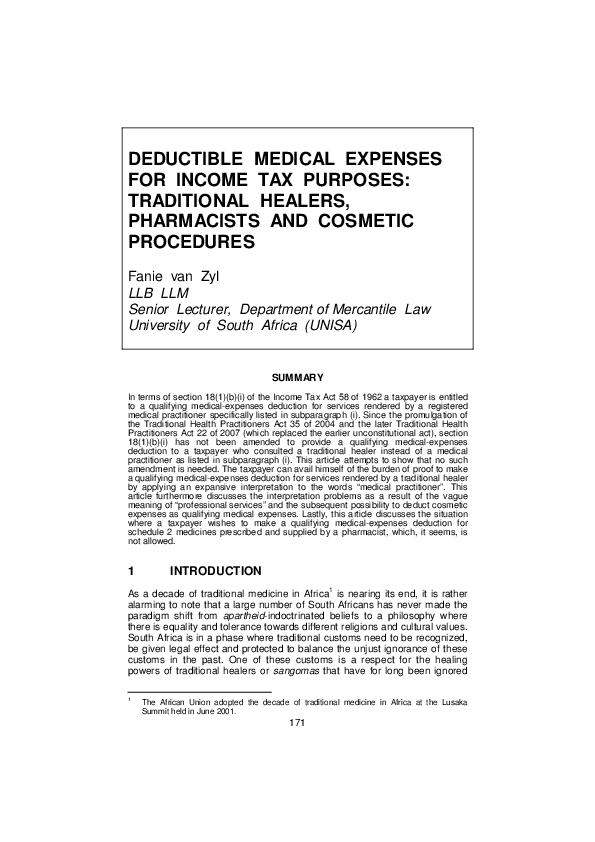 (PDF) DEDUCTIBLE MEDICAL EXPENSES FOR INCOME TAX PURPOSES ...