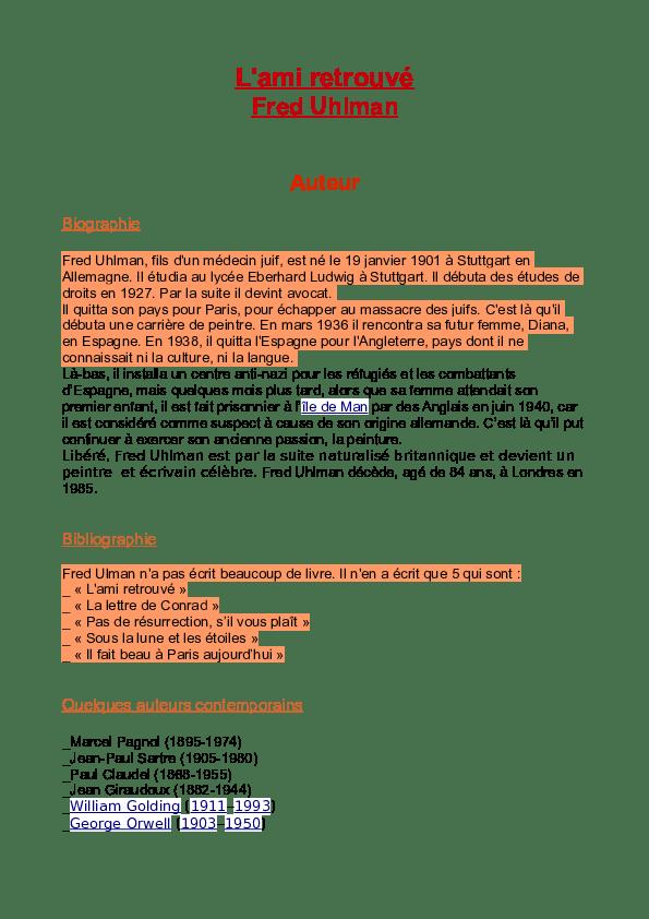 Résumé Du Livre L'ami Retrouvé : résumé, livre, l'ami, retrouvé, Lami-retrouvé, Français, Zafon, Academia.edu
