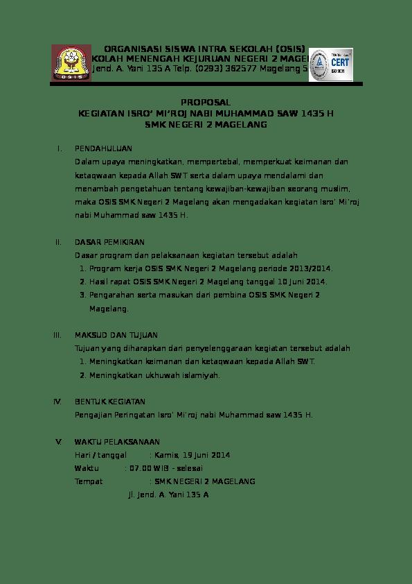 Doc Contoh Proposal Osis Smk Negeri 2 Magelang Osis Smea Academia Edu Cute766