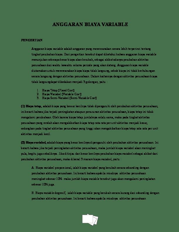 Contoh Biaya Semi Variabel : contoh, biaya, variabel, ANGGARAN, BIAYA, VARIABLE, Merisa, Chaey, Mickey, Academia.edu