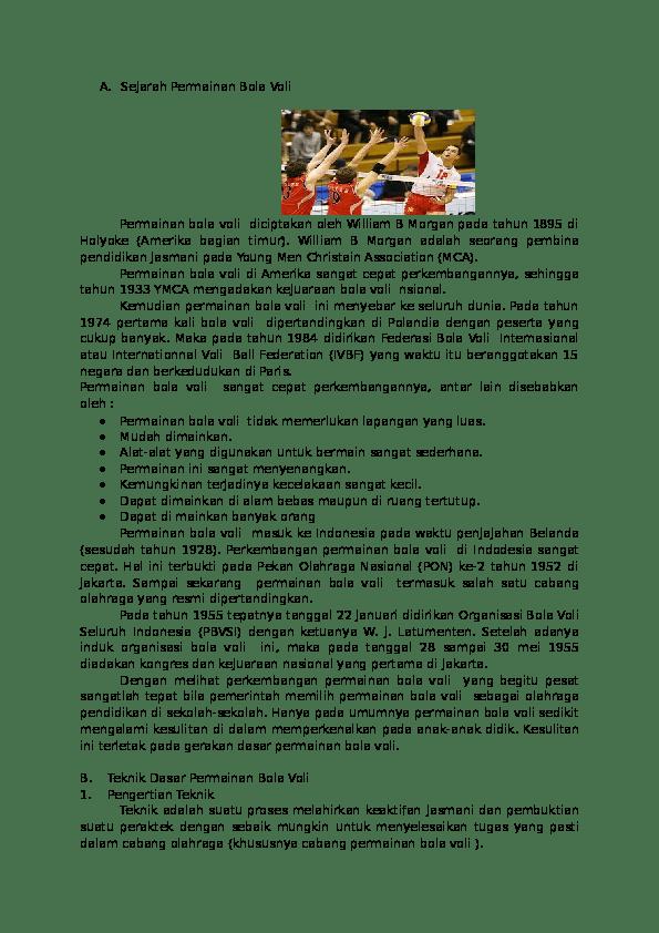 Pengertian Olahraga Bola Voli : pengertian, olahraga, Sejarah, Permainan, Budiman, Academia.edu
