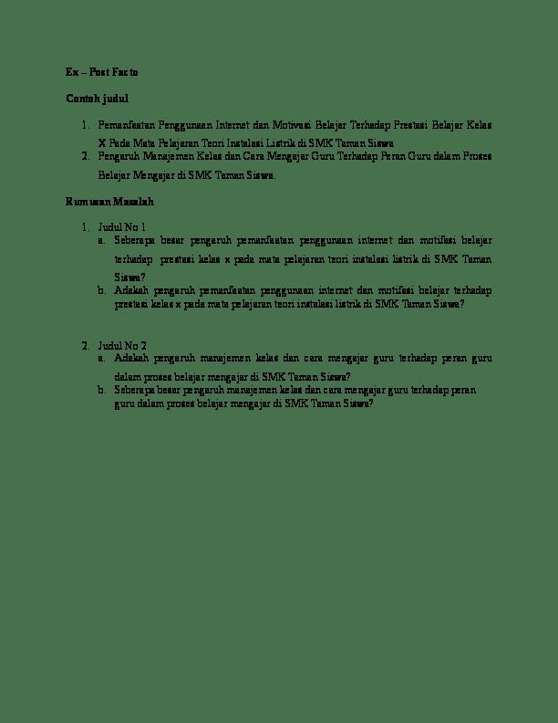 Contoh Judul Dan Rumusan Masalah Penelitian : contoh, judul, rumusan, masalah, penelitian, Facto, Contoh, Judul, Dimas, Academia.edu