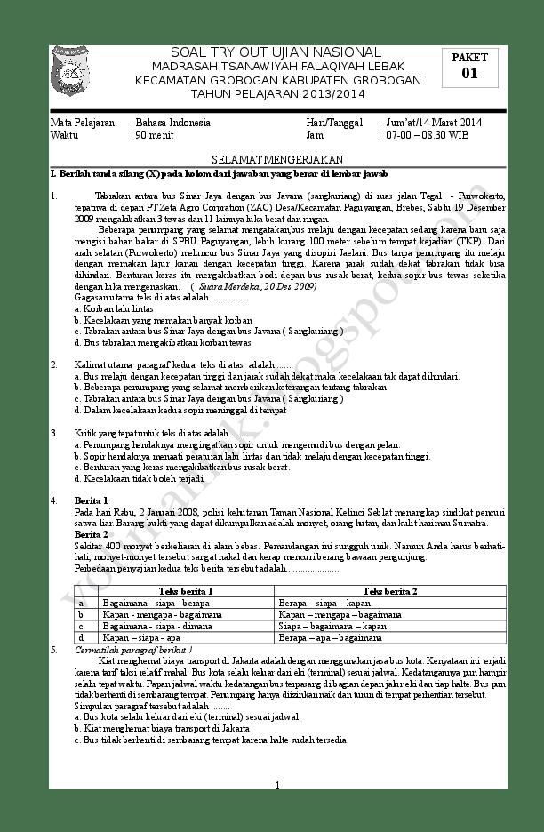 Try Out Bahasa Indonesia : bahasa, indonesia, PAKET, BAHASA, INDONESIA, Herdiansyah, Academia.edu
