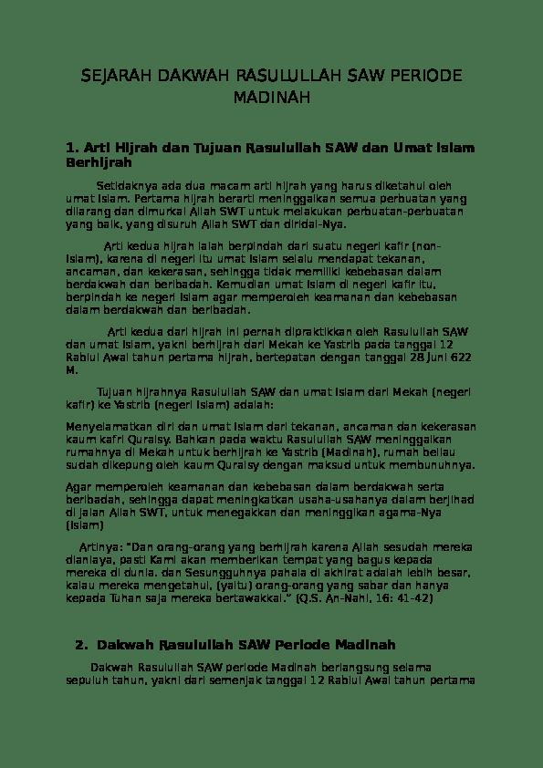Strategi Dakwah Rasulullah Periode Madinah : strategi, dakwah, rasulullah, periode, madinah, SEJARAH, DAKWAH, RASULULLAH, PERIODE, MADINAH, Academia.edu