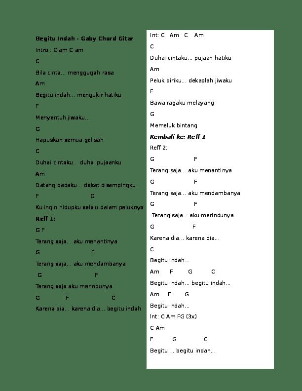 Chord Gitar Kau Cantik Hari Ini : chord, gitar, cantik, Begitu, Indah, -Gaby, Chord, Gitar, Academia.edu