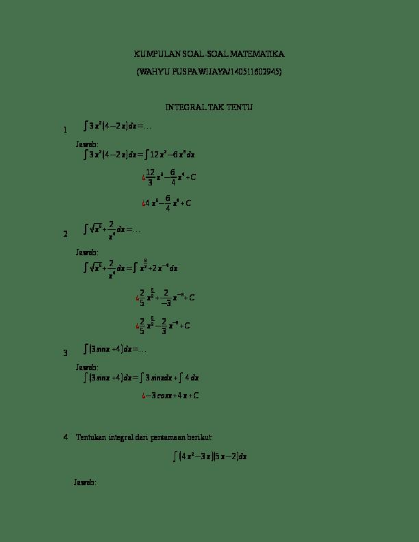 Soal Integral Tak Tentu : integral, tentu, Contoh, Pembahasan, Integral, Tentu, Dalam, Bentuk, Seputar