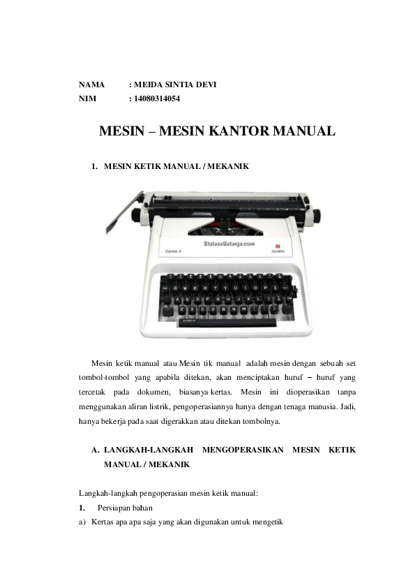 Fungsi Mesin Penomor : fungsi, mesin, penomor, Mesin-Mesin, Kantor, Manual, Meida, Sintia, Academia.edu