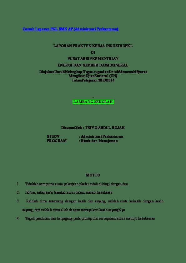 Doc Contoh Laporan Pkl Smk Ap Utari Rahmawati Academia Edu Resep Kuini