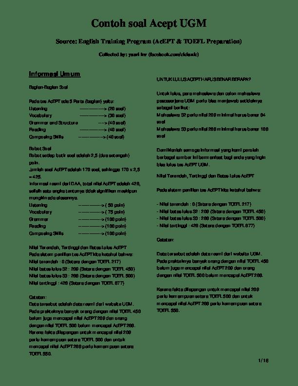 Info Tes AcEPT UGM Terlengkap - Website persiapan dan belajar tes...
