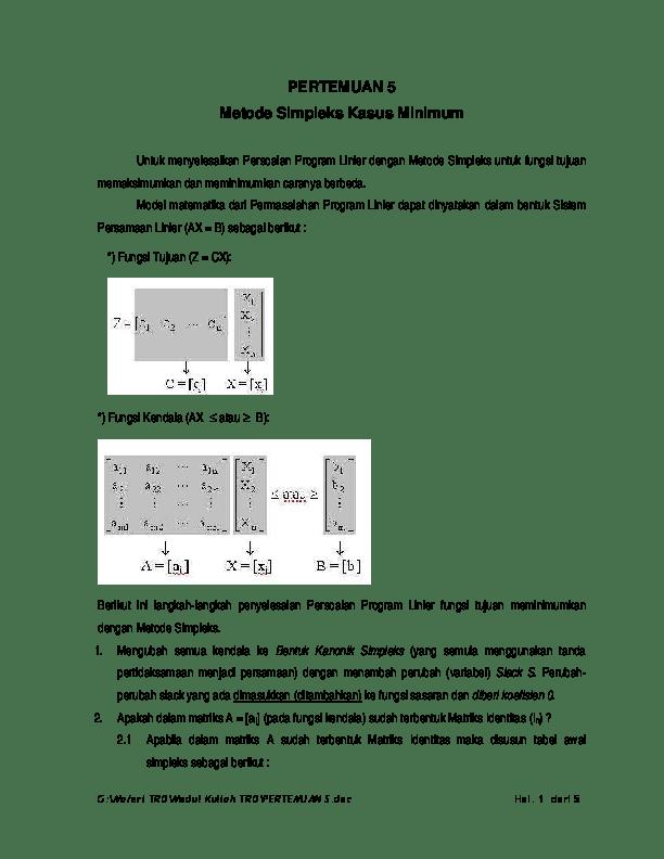 Contoh Soal Metode Simpleks Kasus Minimum : contoh, metode, simpleks, kasus, minimum, PERTEMUAN, Metode, Simpleks, Kasus, Minimum, Linda, Susanti, Academia.edu