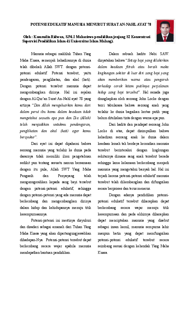 An-nahl Ayat 78 : an-nahl, POTENSI, EDUKATIF, MANUSIA, MENURUT, SURAT, AN-NAHL, Kamsudin, Ridwan, Academia.edu