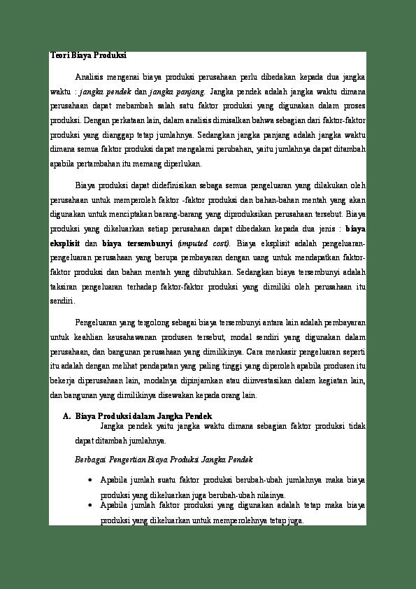 Biaya Produksi Jangka Pendek : biaya, produksi, jangka, pendek, Teori, Biaya, Produksi, Margaretha, Marpaung, Academia.edu