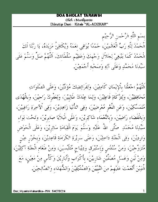 Doa Tarawih Pdf : tarawih, Sholat, Tarawih, Witir, Myanto, Mahardika, Academia.edu