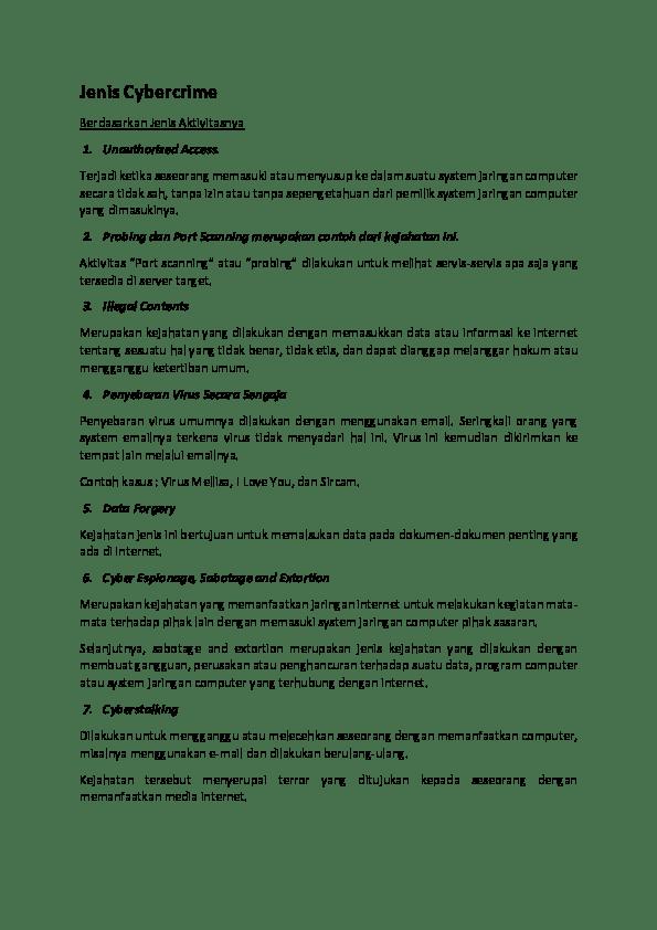 PDF) Jenis Cybercrime   yudha anggara - Academia.edu