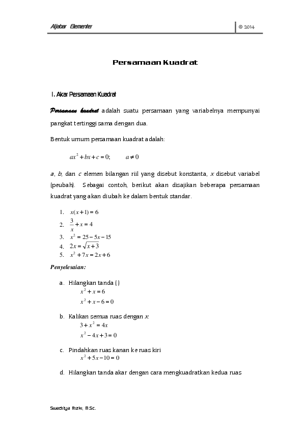 Materi Persamaan Kuadrat Pdf : materi, persamaan, kuadrat, Persamaan, Kuadrat, Swaditya, Rizki, Academia.edu