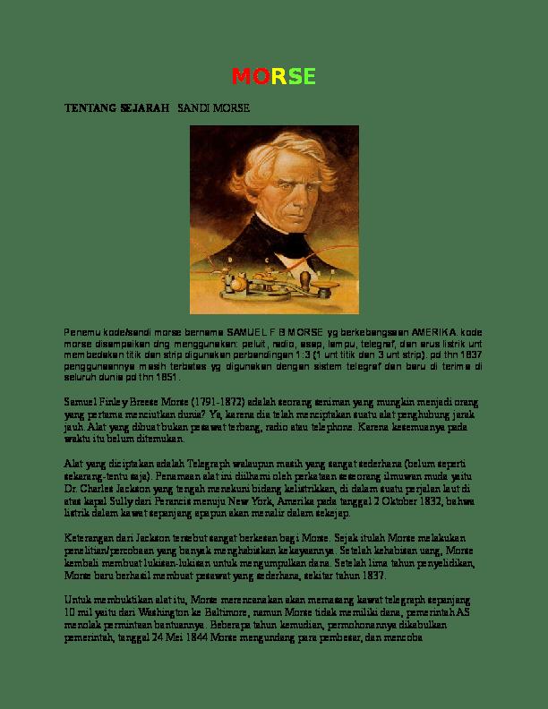 Penemu Sandi Morse : penemu, sandi, morse, MORSE, TENTANG, SEJARAH, SANDI, Wanes, Prasetyo, Academia.edu