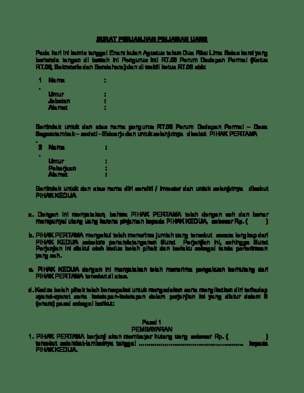 Contoh Surat Pernyataan Pinjam Uang : contoh, surat, pernyataan, pinjam, Surat, Perjanjian, Pinjam, Nanda, Academia.edu