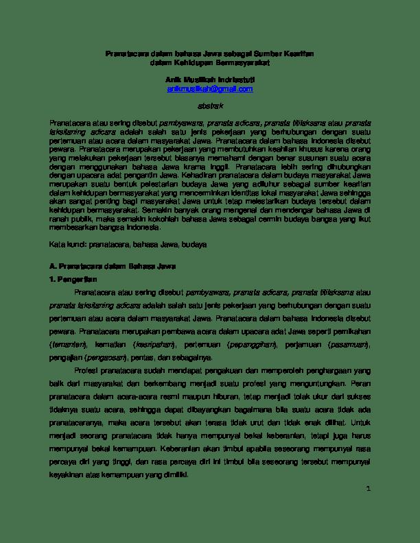 Upacara Adat Jawa Dalam Bahasa Jawa : upacara, dalam, bahasa, Pranatacara, Dalam, Bahasa, Sebagai, Sumber, Kearifan, Muslikah, Indriastuti, Academia.edu